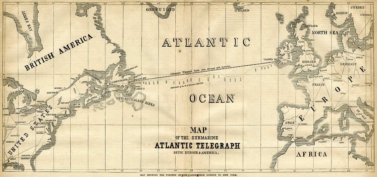 Atlantic Telegraph's map of the position of the cable from London to New York