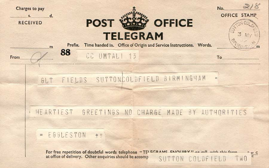 Empire social telegram from umtali southern rhodesia dated the 3rd may
