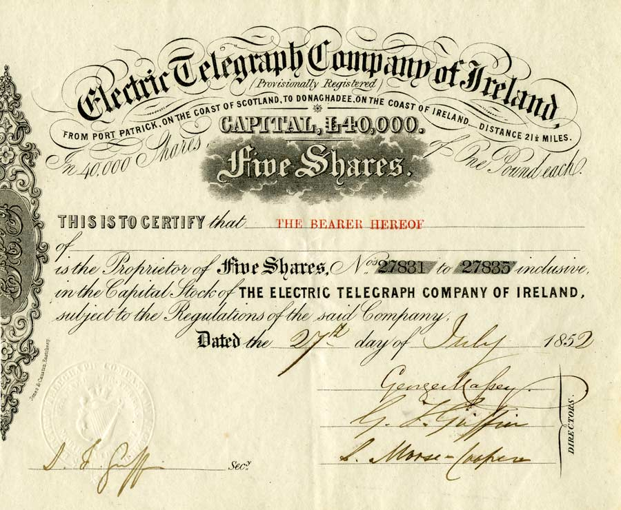History of the Atlantic Cable Submarine Telegraphy Electric – Example of Share Certificate