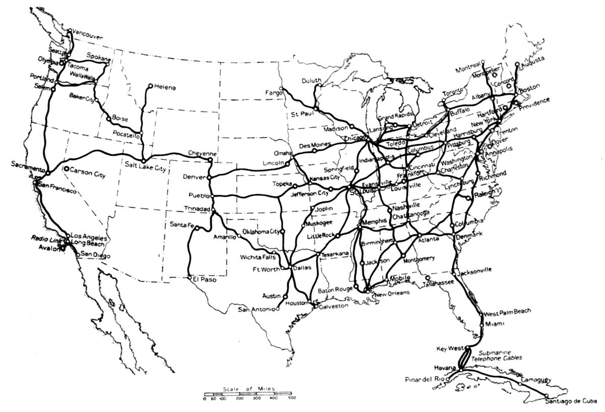 history of the atlantic cable submarine telegraphy 1921 key west 12 Volt Assembly fig 1 map showing the submarine cables and some of the important toll routes in the united states and cuba